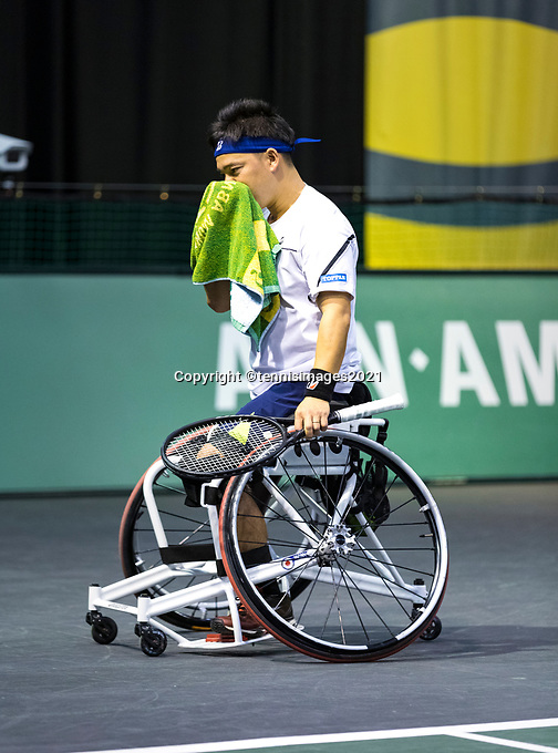 Rotterdam, The Netherlands, 4 march  2021, ABNAMRO World Tennis Tournament, Ahoy, First round wheelchair: Takashi Sanada (JPN).<br /> Photo: www.tennisimages.com/