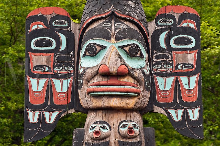 Detail of the Chief Johnson totem pole, Tlingit, Ketchikan, AK, Alaska