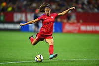 New Orleans, LA - Thursday October 19, 2017: Alex Morgan during an International friendly match between the Women's National teams of the United States (USA) and South Korea (KOR) at Mercedes Benz Superdome.