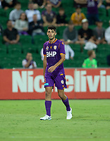 27th March 2021; HBF Park, Perth, Western Australia, Australia; A League Football, Perth Glory versus Newcastle Jets; Jonathan Aspropotamitis of the Perth Glory walks off after being red carded by referee Daniel Elder