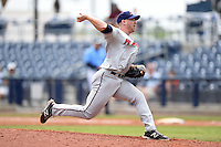 Fort Myers Miracle pitcher Brian Gilbert (35) delivers a pitch during a game against the Charlotte Stone Crabs on April 16, 2014 at Charlotte Sports Park in Port Charlotte, Florida.  Fort Myers defeated Charlotte 6-5.  (Mike Janes/Four Seam Images)