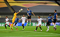 21st August 2020, Rheinenergiestadion, Cologne, Germany; Europa League Cup final Sevilla versus Inter Milan;  Yassine Bounou of Sevilla  saves from Diego Godin of Inter Milan