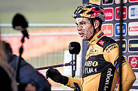 mudfaced Wout van Aert (BEL/Jumbo-Visma) interviewed post-race<br /> <br /> 2020 Superprestige in Boom (BEL) <br /> <br /> ©kramon