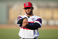 Yoelqui Cespedes (15) of the Winston-Salem Rayados does some stretching prior to the game against the Llamas de Hickory at Truist Stadium on July 6, 2021 in Winston-Salem, North Carolina. (Brian Westerholt/Four Seam Images)