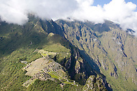 VIEW OF THE INCA RUINS AT MACHUA PICCHU FROM THE TOP OF WAYNAPICCHU