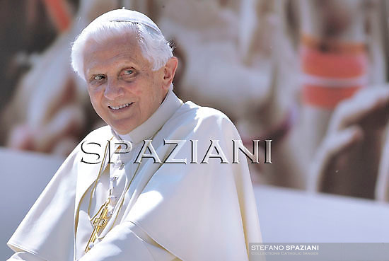 Pope Benedict XVI waves as he leaves his weekly general audience on April 28, 2010 at St Peter's square at The Vatican.