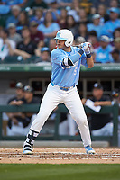 Ashton McGee (5) of the North Carolina Tar Heels at bat against the South Carolina Gamecocks at BB&T BallPark on April 3, 2018 in Charlotte, North Carolina. The Tar Heels defeated the Gamecocks 11-3. (Brian Westerholt/Four Seam Images)