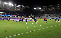 ORLANDO CITY, FL - JANUARY 31: USMNT warming up before a game between Trinidad and Tobago and USMNT at Exploria stadium on January 31, 2021 in Orlando City, Florida.