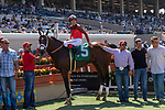 DEL MAR, CA  AUGUST 25: #5 Tatters to Riches, ridden by Tyler Baze, in the winners circle after winning the Shared Belief Stakes, on August 25, 2018 at Del Mar Thoroughbred Club in Del Mar, CA.(Photo by Casey Phillips/Eclipse Sportswire/Getty ImagesGetty Images