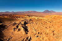 Atacama Desert landscape in Catarpe Valley near the Quebrada del Diablo, with Juriques Volcano in the background, near San Pedro de Atacama, Chile