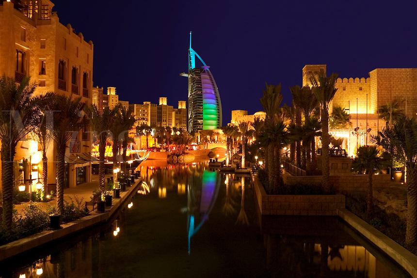 Dubai, United Arab Emirates. Madinat Jumeirah. Burj al Arab Hotel, .Mina A'Salam Hotel and Convention Centre. Souk. Evening..