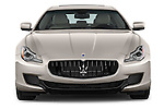 Car photography straight front view of a 2014 Maserati Quattroporte SQ4 4 Door Sedan Front View