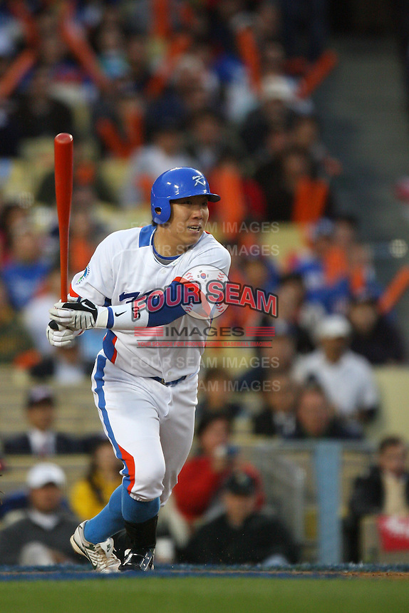 Hyun Soo Kim of Korea during a game against Japan at the World Baseball Classic at Dodger Stadium on March 23, 2009 in Los Angeles, California. (Larry Goren/Four Seam Images)