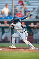 Connecticut Tigers left fielder Ro Coleman (22) follows through on a swing during a game against the Auburn Doubledays on August 10, 2017 at Falcon Park in Auburn, New York.  Connecticut defeated Auburn 4-1.  (Mike Janes/Four Seam Images)