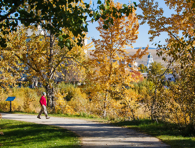 Walking on the riverfront trail system along the Clark Fork River in Missoula