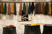 Dyed wool ready for carpet weaving, Cappadocia, Turkey