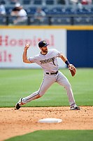 New Orleans Baby Cakes second baseman Steve Lombardozzi (4) throws to first base during a game against the Nashville Sounds on May 1, 2017 at First Tennessee Park in Nashville, Tennessee.  Nashville defeated New Orleans 6-4.  (Mike Janes/Four Seam Images)