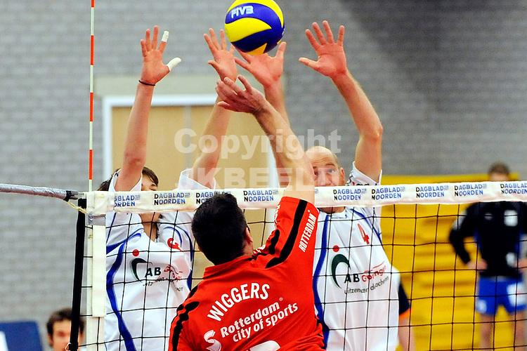 volleybal lyurgus - nesselande seizoen 2008-2009 15-03-2009 blok lycurgus met ernst zijlstra  .