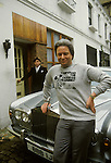 Robert Daubigny real name Robert Fuller Exegesis 1980s Cult with Rolls Royce London.<br /> The T shirt says - 'I SURVIVED THE EXEGESIS SEMINAR'