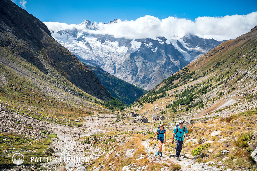 Climbers on the way to the Almageller Hut to climb the Weissmies, Saas Grund, Switzerland