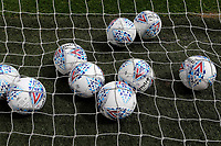 Some Mitre footballs in the back of the net ahead of Charlton's  pre-match warm up during Charlton Athletic vs Reading, Sky Bet EFL Championship Football at The Valley on 11th July 2020
