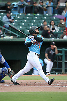 Michael Cruz (16) of the Inland Empire 66ers bats against the Stockton Ports at San Manuel Stadium on May 26, 2019 in San Bernardino, California. (Larry Goren/Four Seam Images)