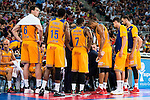 Herbalife Gran Canaria's player Darko Planinic, Royce O'Neale, Bo McCalebb, Eulis Baez and Pablo Aguilar during the final of Supercopa of Liga Endesa Madrid. September 24, Spain. 2016. (ALTERPHOTOS/BorjaB.Hojas)