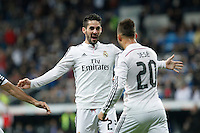 Real Madrid´s Jese Rodriguez celebrates a goal with Isco (L) during Spanish King Cup match between Real Madrid and Cornella at Santiago Bernabeu stadium in Madrid, Spain.December 2, 2014. (NortePhoto/ALTERPHOTOS/Victor Blanco)