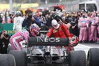 15th November 2020; Istanbul Park, Istanbul, Turkey; FIA Formula One World Championship 2020, Grand Prix of Turkey, Race Day;  11 Sergio Perez MEX, BWT Racing Point F1 Team congratulates winner 44 Lewis Hamilton GBR, Mercedes-AMG Petronas Formula One Team along with 5 Sebastian Vettel GER, Scuderia Ferrari Mission Winnow