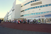 Pictured: A long queue of supporters flock to the club shop to be the first to buy the new shirts. Saturday 21 June 2014<br /> Re: Launch of the new home and away kit for Swansea City Football Club at the Liberty Stadium, south Wales.