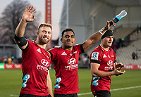 From left, Braydon Ennor, Sevu Reece and George Bridge celebrate winning the 2020 Super Rugby match between the Crusaders and Highlanders at Orangetheory Stadium in Christchurch, New Zealand on Saturday, 9 August 2020. Photo: Joe Johnson / lintottphoto.co.nz