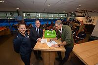 IJSHOCKEY: HEERENVEEN: 10-12-2019, IJsstadion Thialf, Nederlands dames IJshockey Team, ondertekening contract door Ed Bontrop (TEAMKPN Sportfonds) en  Jan Hopstaken (Voorzitter IJshockey Nederland), ©foto Martin de Jong