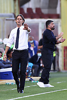 Filippo Inzaghi coach of Benevento Calcio and Gennaro Gattuso coach of SSC Napoli<br /> during the Serie A football match between Benevento Calcio and SSC Napoli at stadio Ciro Vigorito in Benevento (Italy), October 25th, 2020. <br /> Photo Cesare Purini / Insidefoto