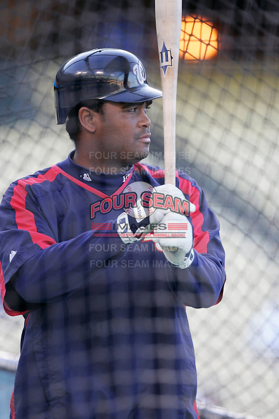 Tony Batista of the Washington Nationals during batting practice before a game from the 2007 season at Dodger Stadium in Los Angeles, California. (Larry Goren/Four Seam Images)