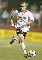 Sean Flatley #3 of the University of Maryland starts an attack during an ACC men's soccer match against Wake Forest at Ludwig Field, University of Maryland on September 26 2008 in College Park, Maryland. Wake Forest won 4-2 in front of a record sold out crowd of 6,500.