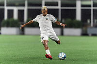 FOXBOROUGH, MA - SEPTEMBER 1: Maxi Schenfeld #19 of FC Tucson passes the ball during a game between FC Tucson and New England Revolution II at Gillette Stadium on September 1, 2021 in Foxborough, Massachusetts.