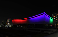 24th August 2020, Tokyo, Japan; The Tokyo 2020 Paralympic Venue Ariake Arena is illuminated with the Paralympic symbol colours to mark one-year-to-go until the start of the postponed Tokyo 2020 Paralympic Games in Tokyo
