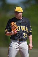 Iowa Hawkeyes relief pitcher Nick Allgeyer (24) looks in for the sign during a game against the Dartmouth Big Green on February 27, 2016 at South Charlotte Regional Park in Punta Gorda, Florida.  Iowa defeated Dartmouth 4-1.  (Mike Janes/Four Seam Images)