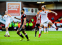 Hull City's midfielder Kamil Grosicki (7) strikes to make it 1-0 during the Sky Bet Championship match between Sheff United and Hull City at Bramall Lane, Sheffield, England on 4 November 2017. Photo by Stephen Buckley / PRiME Media Images.