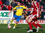 Aberdeen v St Johnstone....19.02.12   SPL.Lee Croft is closed down.Picture by Graeme Hart..Copyright Perthshire Picture Agency.Tel: 01738 623350  Mobile: 07990 594431