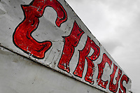 A circus sign seen at the trailer of Circo Brasilia, a family run circus travelling in Central America, 10 May 2011. The Circo Brasilia circus belongs to the old-fashioned traveling circuses with a usual mixture of acrobat, clown and comic acts. Due to the general loss of popularity caused by modern forms of entertainment such as movies, TV shows or internet, these small family enterprises balance on the edge of survival. Circuses were pushed away and now they have to set up their shows in more remote villages. The circus art and culture is slowly dying in Latin America.