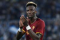 26th September 2021;  Stadio Olimpico, Rome, Italy; Italian Serie A football, SS Lazio versus AS Roma; Tammy Abraham of AS Roma applauds the Roma fans