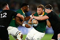 Scott Barrett of New Zealand (All Blacks) tackling Duane Vermeulen of South Africa during the Rugby World Cup Pool B match between the New Zealand All Blacks and South Africa Springboks at the International Stadium in Yokohama, Japan on Saturday, 21 September, 2019. Photo: Steve Haag / stevehaagsports.com