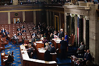 United States Vice President Mike Pence and Speaker of the United States House of Representatives Nancy Pelosi (Democrat of California), preside over the Electoral College vote certification for President-elect Joe Biden, during a joint session of Congress at the U.S. Capitol in Washington, DC on Wednesday, January 6, 2021. <br /> CAP/MPI/RS<br /> ©RS/MPI/Capital Pictures