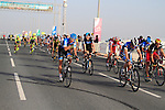 The bunch cross the finish line of the 1st Stage of the 2012 Tour of Qatar running from Umm Slal Mohammed to Doha Golf Club, Doha, Qatar, 5th February 2012 (Photo Eoin Clarke/Newsfile)