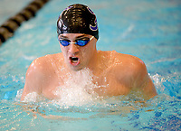 Fayetteville's Jackson Woodard competes Saturday, Feb. 13, 2021, in the 200-yard IM during the Class 6A-West Conference Swim Championships at the Jones Center in Springdale. Visit nwaonline.com/210214Daily/ for today's photo gallery. <br /> (NWA Democrat-Gazette/Andy Shupe)