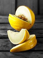 Fresh cut honeydew melons.