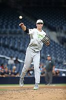 Ben Jordan (33) of the East Team pitches against the West Team during the Perfect Game All American Classic at Petco Park on August 14, 2016 in San Diego, California. West Team defeated the East Team, 13-0. (Larry Goren/Four Seam Images)