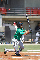 Down East Wood Ducks infielder Josh Morgan (3) at bat during a game against the Carolina Mudcats  on April 27, 2017 at Five County Stadium in Zebulon, North Carolina. Carolina defeated Down East 9-7. (Robert Gurganus/Four Seam Images)