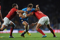 Michele Campagnaro of Italy is tackled by Sébastien Tillous-Borde and Yoann Huget of France during Match 5 of the Rugby World Cup 2015 between France and Italy - 19/09/2015 - Twickenham Stadium, London <br /> Mandatory Credit: Rob Munro/Stewart Communications